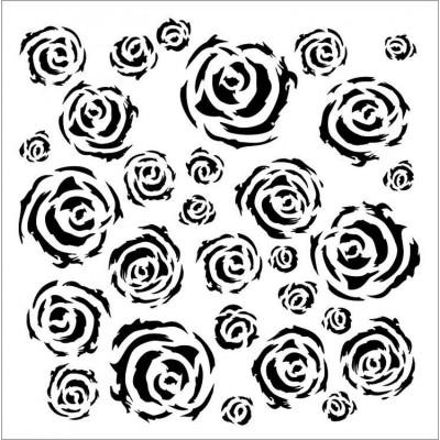 Aqua Roses - Aqua Flora stencil