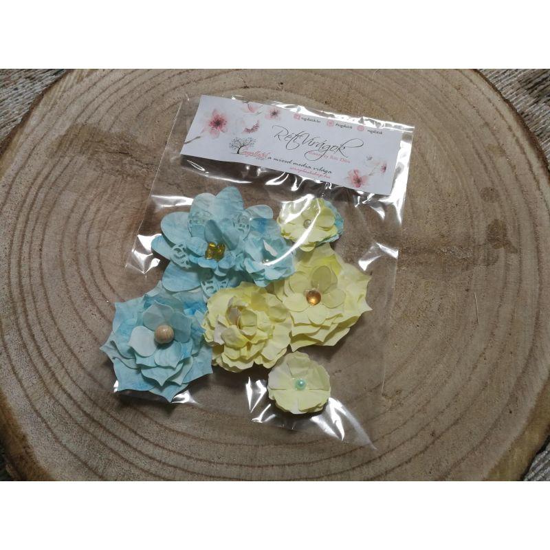 Kézzel készített papír virág -  7 db fehér