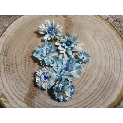 Kézzel készített papír virág -  7 db kék