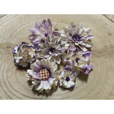 Kézzel készített papír virág -  7 db lila