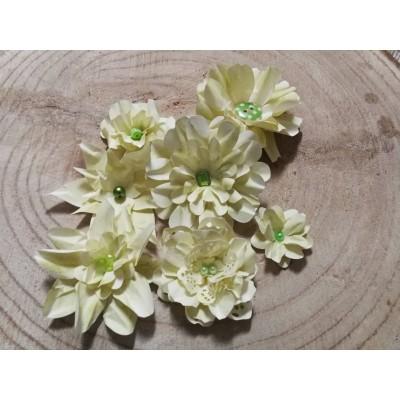 Kézzel készített papír virág -  7 db ekrü - világoszöld