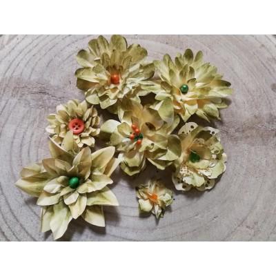 Kézzel készített papír virág -  7 db olíva
