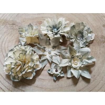 Kézzel készített papír virág -  7 db kékszürkés