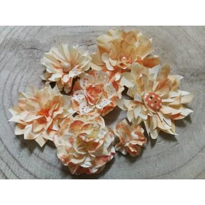 Kézzel készített papír virág -  7 db narancs