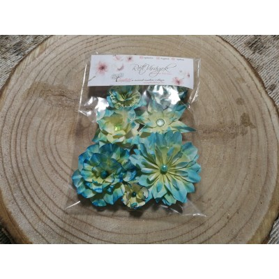 Kézzel készített papír virág -  7 db kék-sárga