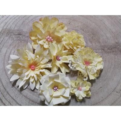 Kézzel készített papír virág -  7 db ekrü