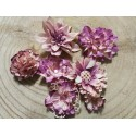 Kézzel készített papír virág -  7 db világos lila