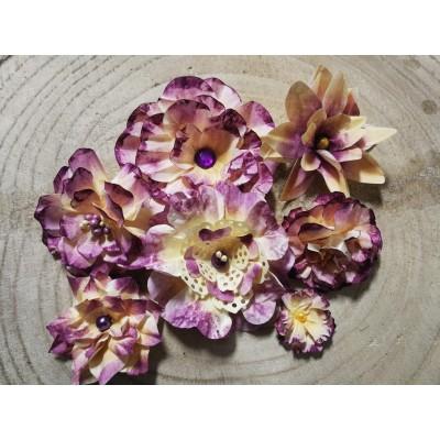 Kézzel készített papír virág -  7 db viola