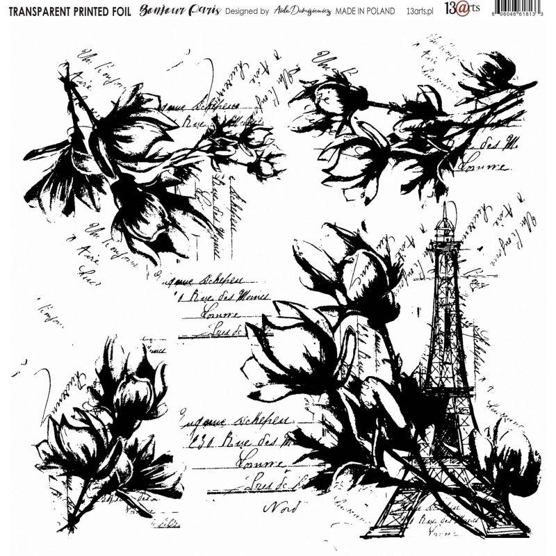 Átlátszó fólia - Bonjour Paris - 12x12