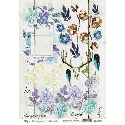 Blue Magnolia kivágóív A4 - elemek