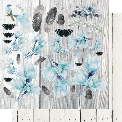 Blue Magnolia - Flowery Day kivágóív 12x12