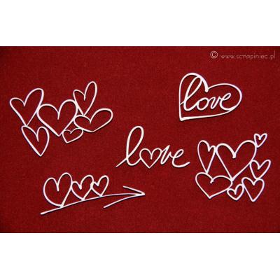 Ecsetvonásos szívek (5 db-os szett)