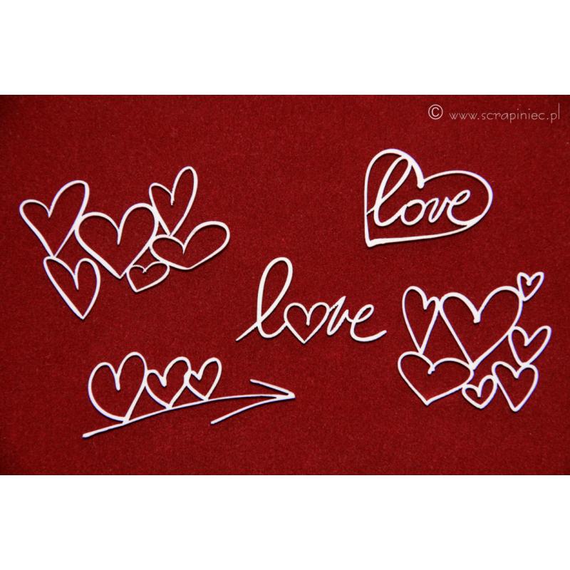 Ecsetvonásos szívek (5 db)