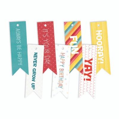 Happy Birthday - dekorációs címkék 02 - 7 db