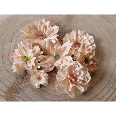 Kézzel készített papír virág -  7 db púder