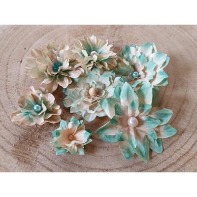 Kézzel készített papír virág -  7 db kék-beige