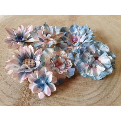 Kézzel készített papír virág -  7 db türkiz