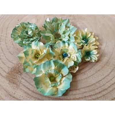 Kézzel készített papír virág -  7 db zöldes sárga