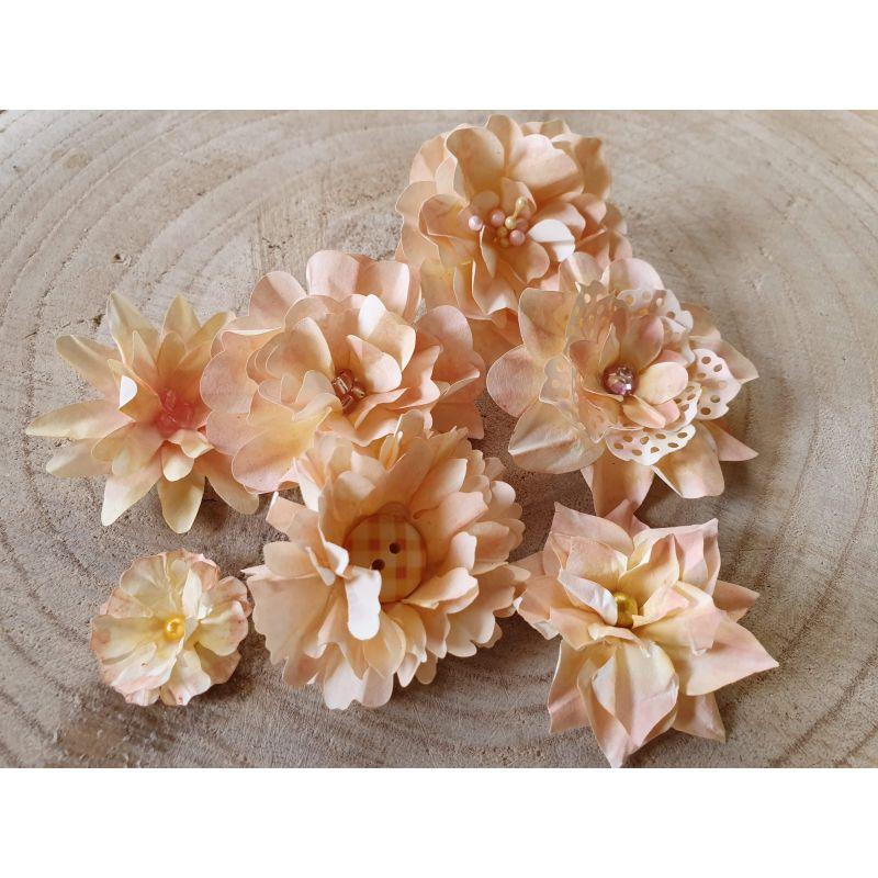 Kézzel készített papír virág -  7 db világoskék