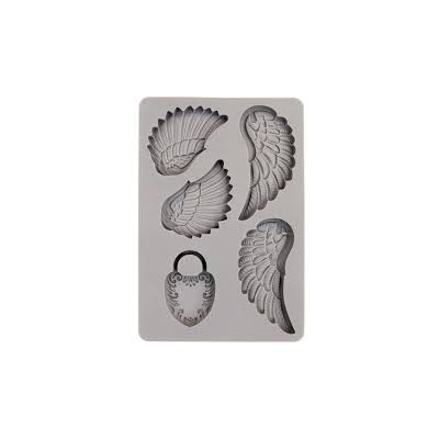 Szilikon öntőforma  - Vintage Art Decor Mould - Wing & Locket