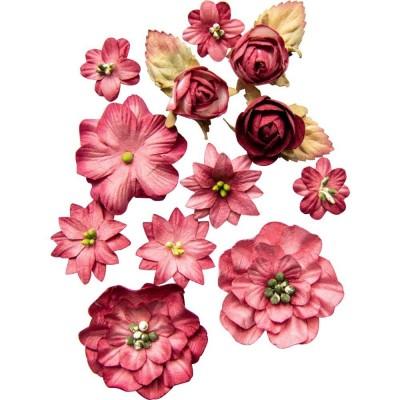 Papírvirág készlet - Country Blooms - Scarlet