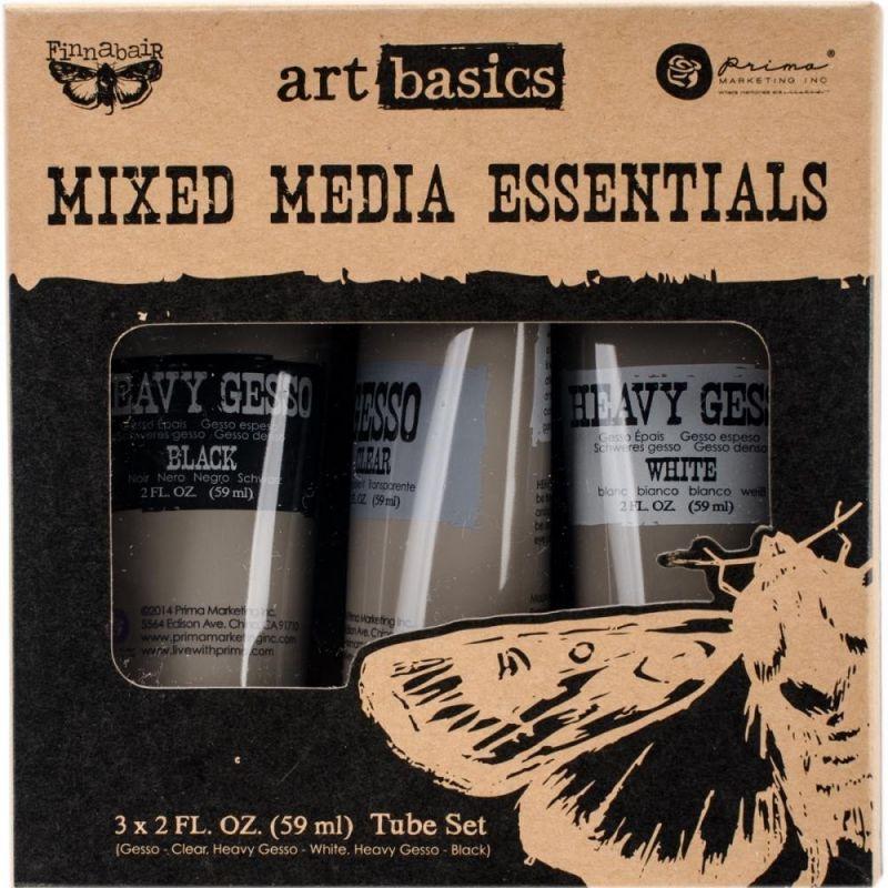 Finnabair - Art Basics Mixed Media Essentials  - Átlátszó, Fekete és Fehér Gesso