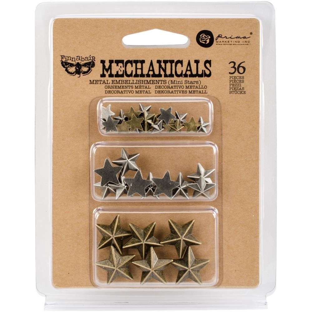 Finnabair - Mechanicals - Metal Embellishments - Mini Stars 36db/csomag