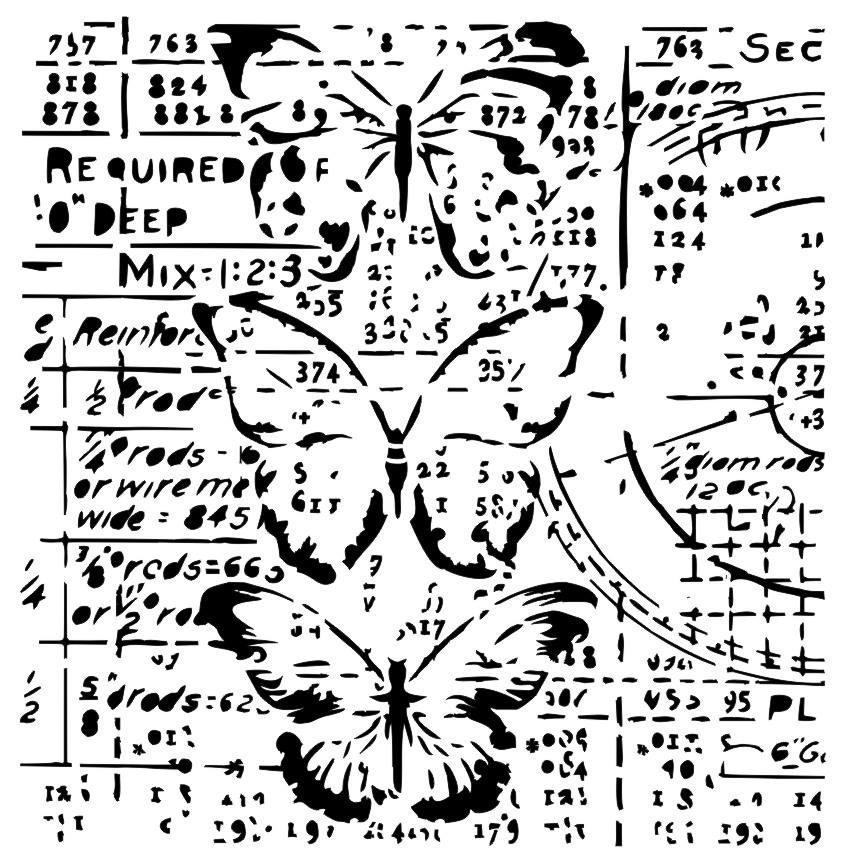 Grungy butterflies stencil
