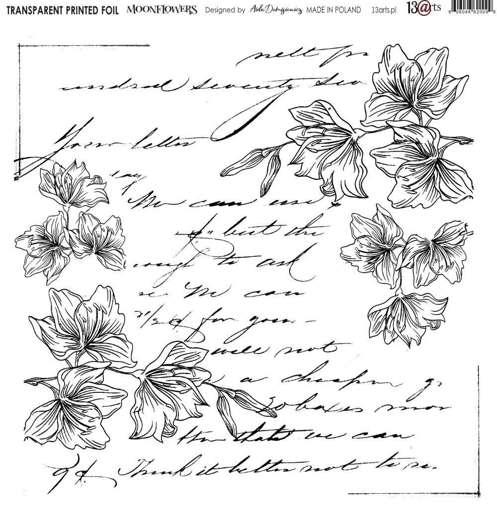 Átlátszó fólia - Moonflowers - 12x12