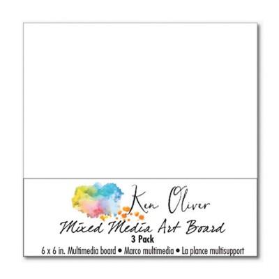 """Ken Oliver - Watercolor mixed media art board 6x6"""" (3db)"""