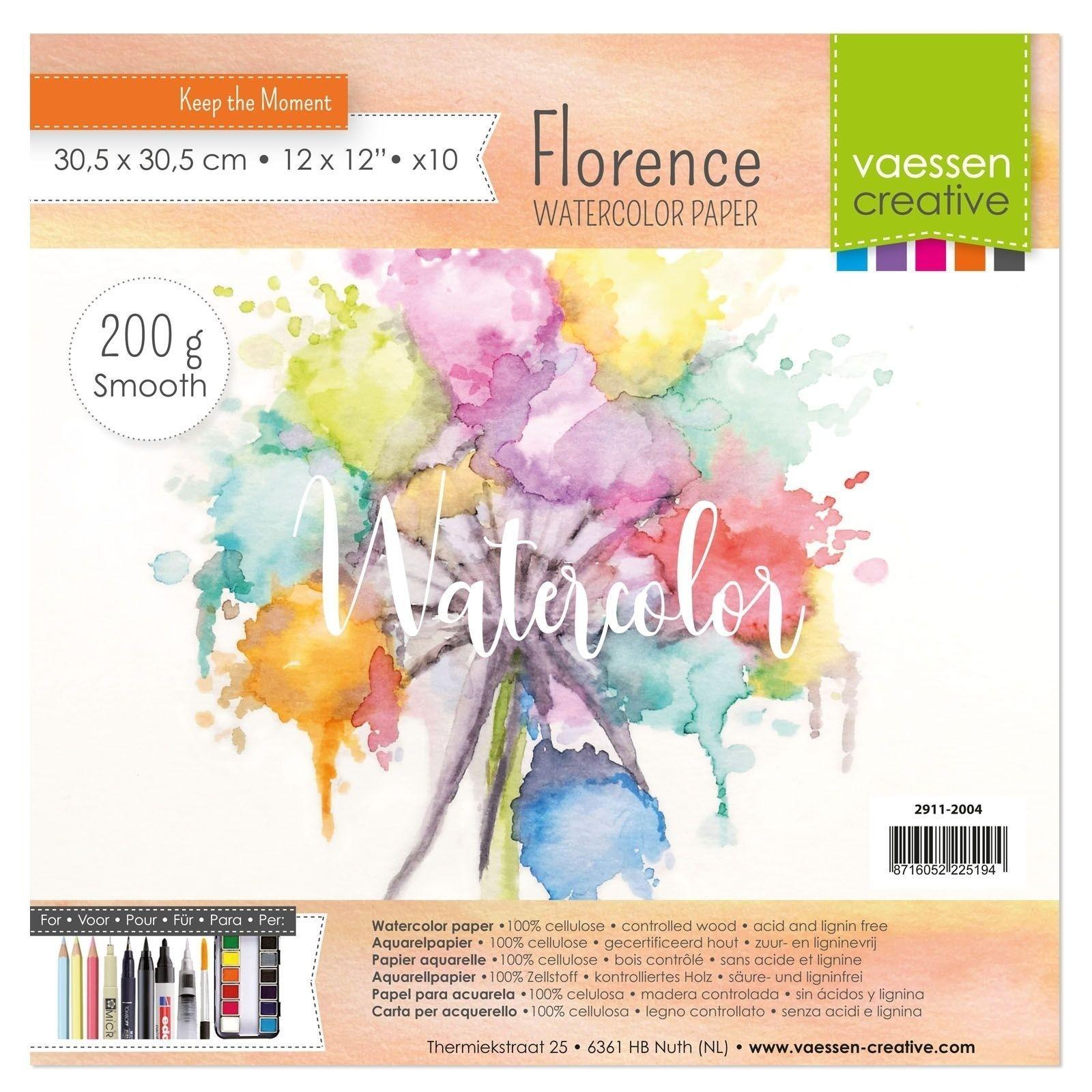 Florence - 12x12-es akvarell papír szett 200g - 10 db (smooth)