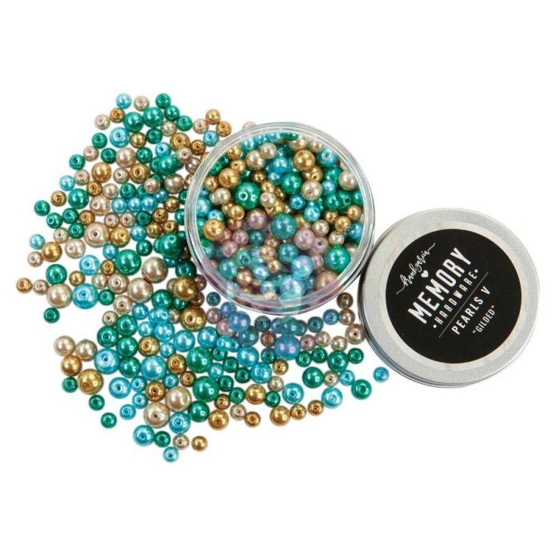 Prima - Memory Hardware Glass Pearls 3 Gilded üveggyöngy