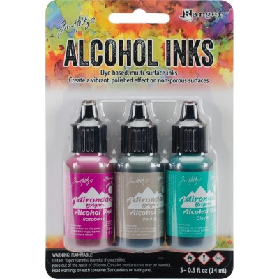 Tim Holtz Alcohol Ink - alkoholos tinta szett - Valley Trail-Raspberry/Pebble/Clover