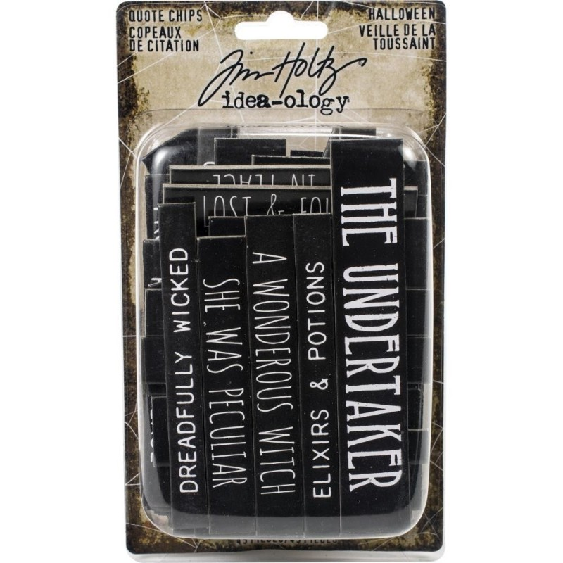 Tim Holtz Idea-Ology Chipboard Quote Chips Halloween, Words & Phrases
