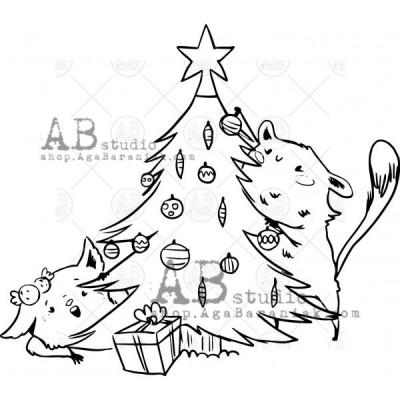 """Gumibélyegző ID-561 """"Christmas mischief with the Christmas tree"""""""