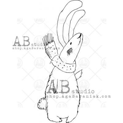 "Gumibélyegző ID-570 ""Christmas hare in a scarf"""