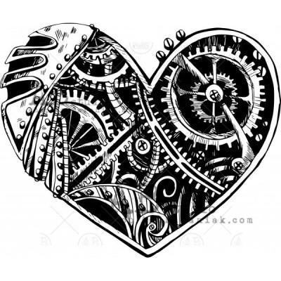 "Gumibélyegző ID-537 ""steampunk heart"""
