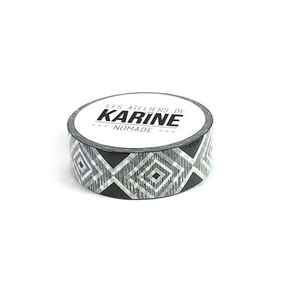 Geometrique noir blanc washi tape - dekortapasz