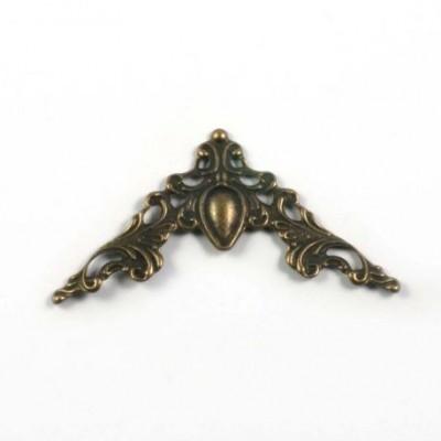 Könyvsarok védő - fém - bronz barokk