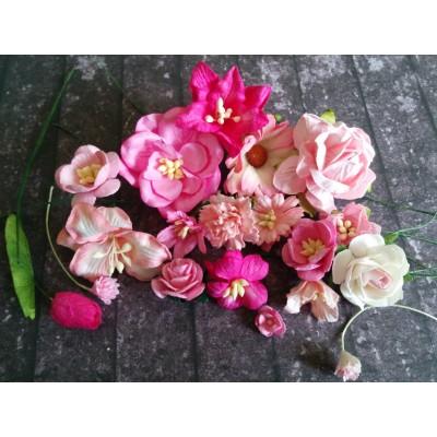 Rózsaszín papír virágok - 20 db
