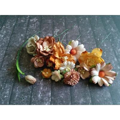 Barna papír virágok - 20 db
